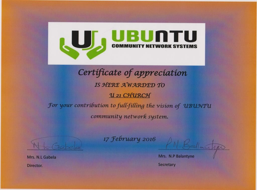 Umbuntu Community Network Systems Certificate of appreciation
